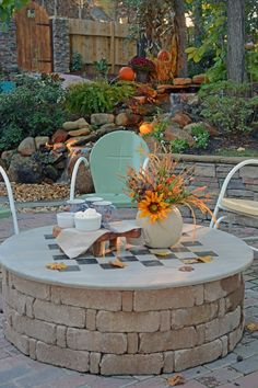Make a multi-use fire pit cover - It's a cover… It's a game-board… And, it's a table! #pergolafirepit