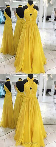 Yellow Prom Dresses, Long Prom Dresses, 2018 Prom Dresses For Teens, Chiffon Prom Dresses Halter, Princess Prom Dresses Sashes / Ribbons Modest
