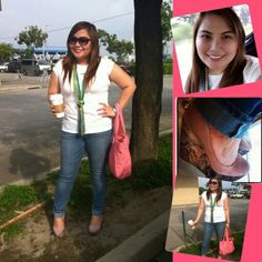 Casual! :) #whiteshirt #jeans #pinkwedge #greenscarf #ootd #pinkbag #kipling #wedgeshoes