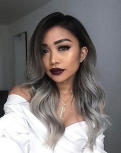 look 38 Ideas Hair Color Grey Balayage Black Brown And Silver Hair, Silver Ombre Hair, Black And Grey Hair, Brown Ombre Hair, Ombre Hair Color, Gray Hair Ombre, Black To Silver Ombre, Dyed Hair Ombre, Long Black