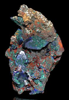 Modern art and an excellent example of mineralization at various stages - Azurite overgrowing Malachite pseudomorph after Azurite crystals - Sacramento Mine, Bisbee, Cochise County, Arizona
