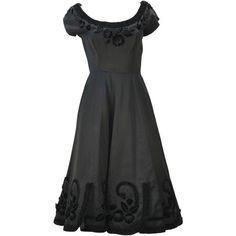 Preowned 1950s Black Satin Party Dress With Velvet Trim And Floral... ($450) ❤ liked on Polyvore featuring dresses, black, pre owned dresses, satin cocktail dress, satin floral dress, satin pleated dress and floral pleated dress