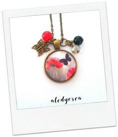 Collier sautoir - coquelicot - papillon - bronze - cabochon : Collier par alodycrea - poppy - butterfly - jewel - bijoux