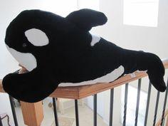 "Large 30""Shamu Plush Orca Killer Whale Sea World Stuffed Animal Soft #SeaWorld"
