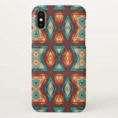 Orange Red Turquoise Rustic Cabin Mosaic Pattern iPhone X Case - stylish gifts unique cool diy customize