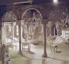 """oldhollywood: """" The """"ice-palace"""" at Varykino (Dr. Zhivago, 1965, dir. David Lean) (via) Several tons of chipped marble and melted wax were used to simulate ice. """""""