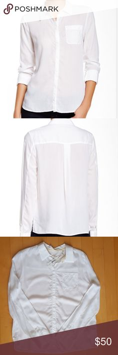4529d92f3f2aa J BRAND Hilary white shirt Size  Large. Spread collar. Long sleeves with  roll