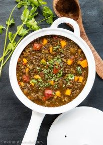 Lentils and Roasted Tomato Stew | A filling, comforting, healthy, and simply perfect Beluga and Red Lentil Stew with Roasted Tomatoes and Butternut Squash, that can be made in less than 30 minutes!! mommyhoodsdiary.com