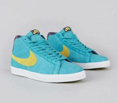 #Nike SB Blazer Premium-Aquamarine-Electric Yellow