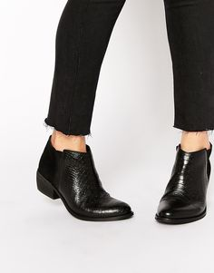 Image 1 of Dune Penelope Croc Effect Leather Flat Ankle Boots