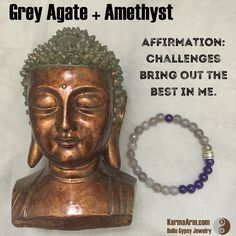 AFFIRMATION: Challenges bring out the best in me.  #CHALLENGES: #Grey #Agate + #Amethyst #Yoga #Mala #Bead #Bracelet #love #style #luck #lucky #mens #energy