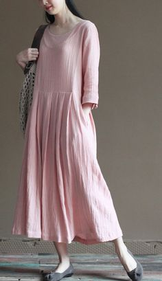 Vintage style back to the 1930's, China. elegant look.college student. 2016 pink linen summer maxi dresses plus size maternity dress half sleeve