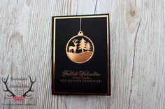 Karte zu Weihnachten in Kupfer und Schwarz mit Fröhliche Anhänger von Stampin' Up!