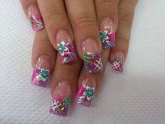 Uñas Nail Art Designs, Pretty Nail Art, Beautiful Nail Designs, Beautiful Nail Art, Acrylic Nail Designs, Acrylic Nails, Fabulous Nails, Gorgeous Nails, Aloha Nails