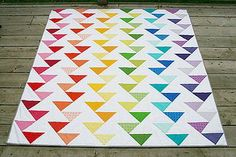In love. In love. In love. Cutting Edge Rainbow Quilt by Fresh Lemons