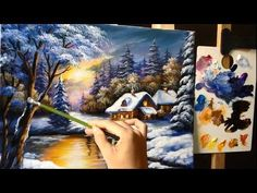 Acrylic landscape painting lesson - Colorful sky with mountain stream - YouTube