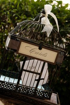 """Bird Cages Wedding Card Holder Measures:  17"""" tall × 11.5"""" wide × 8.5"""" deep.    comes without decoration."""