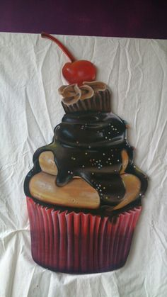 Cupcake, frescolithe op mdf