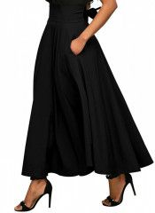 Women's Casual Skirts - Calvin & Sally Women's Casual Flowy Dress High Waist Pleated Midi Skirt with Pockets at Women's Clothing store: Womens Maxi Skirts, Long Skirts For Women, Long Maxi Skirts, Casual Skirts, Women's Casual, Skater Skirts, Casual Party, Dress Long, Ladies Skirts