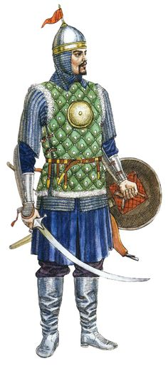 Kazakh noble warrior in brigandine, 16th-17th century