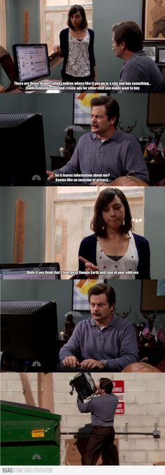 Ron Swanson browsing the internet