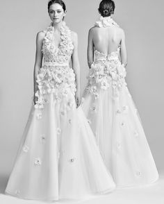 Viktor&Rolf Spring 2018 Wedding Dress Collection | Martha Stewart Weddings – Halter neck A-line wedding dress with floral appliques