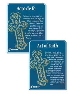 We invite you to download complimentary Act of Faith prayer cards in English or Spanish to use at home or in your classroom.