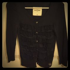 Abercrombie Lace layered front cardigan sweater Youth size XL very nice lace layered front with solid back. Great condition. Abercrombie & Fitch Sweaters Cardigans