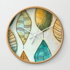 Rustic Leaves Wall Clock by lorimoro Coasters, Clock, Leaves, Rustic, Wall, Stuff To Buy, Products, Watch, Country Primitive