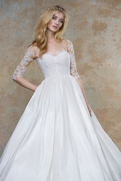 Illusion Half Sleeve Ivory Lace Princess Ball Gown Wedding Dress Nude Tulle  Underneath NZ with high quality and best service on sale 22ef5622bcee