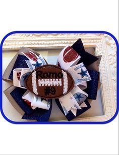 Hey, I found this really awesome Etsy listing at https://www.etsy.com/listing/170383856/dallas-cowboy-custom-football-hair-bow