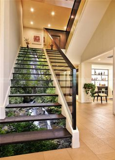 River Birds and Stones Stair Risers Mural PVC Sticker Mural Photo Mural Vinyl Decal Wallpaper Removable Peel off & Stick on 08 Marble Stairs, Stone Stairs, Stair Art, Stair Decor, Decoration Photo, Photo Wall Stickers, Latex, Door Murals, Stair Risers