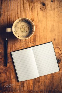 Top view of open notebook with blank pages, writing pencil and cup of coffee on old wooden desk, retro toned image Coffee And Books, Coffee Love, Coffee Art, Coffee Shop, Coffee Cups, Bg Design, Parfum Chanel, Hd Phone Wallpapers, Coffee Photography