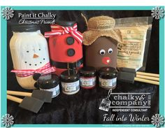 I LOVE these cute Mason jar kits!!!  $35  Paint it Chalky Christmas Friends Includes:  Chalky Creation (Mason Jars) Petite Painter's Powder 5 pk of foam brushes  Four - 2 oz. Painter's Choice Paints - Midnight Black, Code Red, White Mountain, & Moosehide Brown  Accessory Kit. #paintitchalky #chalkyandcompany #masonjars