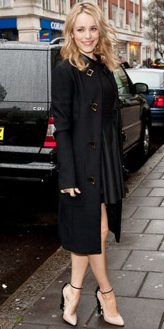 """""""Rachel McAdams put her best foot forward in ruffled Brian Atwood heels that she paired with The Row's military coat for a BBC Radio 1 interview."""" (instyle.com) Great coat!"""
