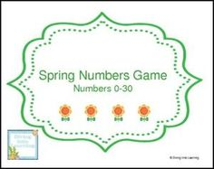 """FREE MATH LESSON – """"Spring Numbers 0-30 Game"""" - Go to The Best of Teacher Entrepreneurs for this and hundreds of free lessons. Pre-Kindergarten - 1st Grade  #FreeLesson  #Math  http://thebestofteacherentrepreneursmarketingcooperative.net/free-math-lesson-spring-numbers-0-30-game/"""