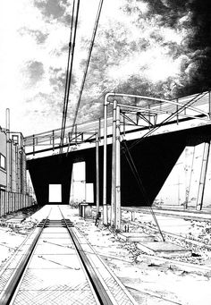 'Railway Tracks under Bridge'  ::  perspective sketch  ::  by Nihonbashi YOKO