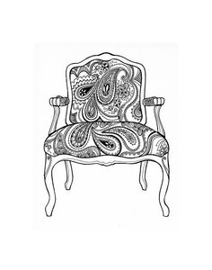 Paisley Chair Coloring Page