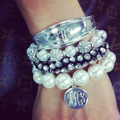 monograms, pearls, and dazzle
