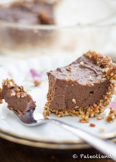 Paleo Chocolate Pie with Nut Crust on www.paleolland.com