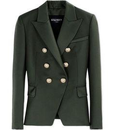 Balmain Olive Green Wool Blazer