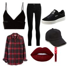 """""""Everyone has a dark side.🌚"""" by sammy-mtz ❤ liked on Polyvore featuring T By Alexander Wang, Madewell, J Brand, Puma, rag & bone and Lime Crime"""