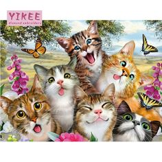 Joy Jay 5 Panels Cat and Tiger DIY 5D Diamond Embroidery Combination Painting Cross Stitch Craft Cross Stitch Office Home Wall Decor