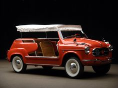 Or maybe a red one. Fiat 600 Jolly Ghia (1959). via Car Styling