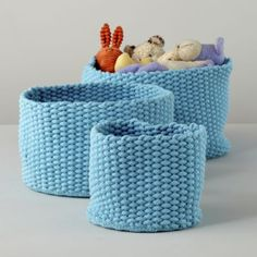 Kneatly Knit Storage Collection - Surely I can knit these for less?  See if one of the home goods stores has rope about the same as bulky weight, then it's just seed stitch in a circle.  Or make a scarf and sew the ends together, and then around a sturdy base.