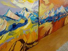 Jeseň pod Tatrami, www.turzak-art.sk, 70 x 60 cm, akryl a modelovacia pasta, #tatry #gerlach #turzakart #obrazy #obrazytatier #vysoketatry