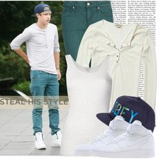 Steal His Style: Niall Horan by prettyorchid22 featuring cotton tank topsScotch Soda sheer tee / Clu cotton tank top / Mango green jeans / NIKE strappy shoes, $59 / OBEY Clothing panel hat, $46