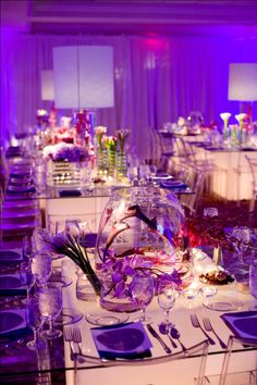 Purple/Purple Upscale, elegant Bat Mitzvah in Philly with lit tables - [we can get these from Kool Party Rentals!] - Ty blog.evantinedesign.com
