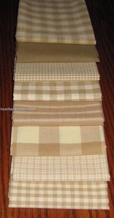 Dunroven House 8 Primitive Homespun Wheat U0026 Cream Fabric Fat Quarters
