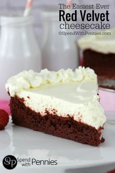 EASIEST EVER RED VELVET CHEESECAKE! This is one of the easiest Red Velvet Cheesecake recipes you'll find! A simple Red Velvet caketopped with a deliciously quick no-bake cheesecake!